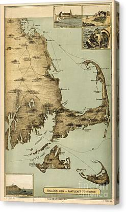 Balloon View Of Nantucket To Boston Canvas Print by Celestial Images