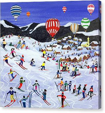 Ballooning Over The Piste Canvas Print by Judy Joel