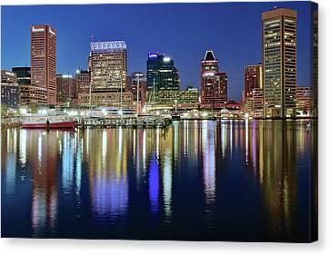 Baltimore Blue Hour Canvas Print by Frozen in Time Fine Art Photography