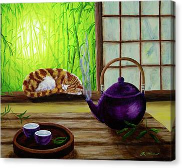 Bamboo Morning Tea Canvas Print by Laura Iverson