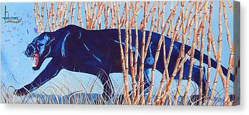 Bamboo Panther Canvas Print by Larry  Johnson
