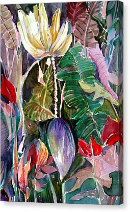 Banana And Pods Canvas Print by Mindy Newman
