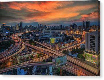 Bangkok Cityscape Bangkok City Of Thailand Canvas Print by Anek Suwannaphoom