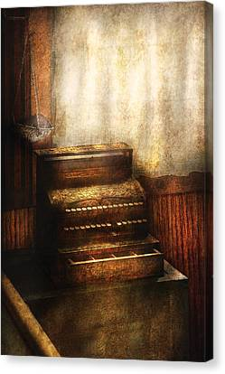 Banker - An Old Cash Register Canvas Print by Mike Savad