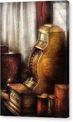 Banker - Brass Cash Register  Canvas Print by Mike Savad