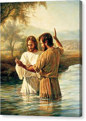 Baptism Of Christ Canvas Print by Greg Olsen