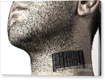 Bar Code On Neck Canvas Print by Blink Images