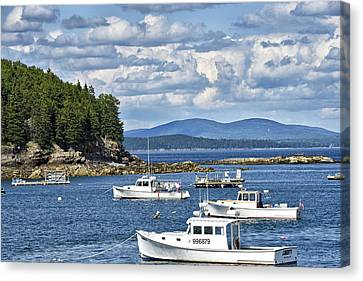 Bar Harbor Lobster Boats - Frenchman Bay Canvas Print by Brendan Reals