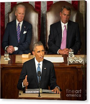 Barack Obama 2015 Sotu Address Canvas Print by Science Source