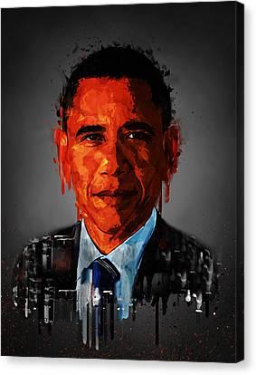 Barack Obama Acrylic Portrait Canvas Print by Georgeta Blanaru
