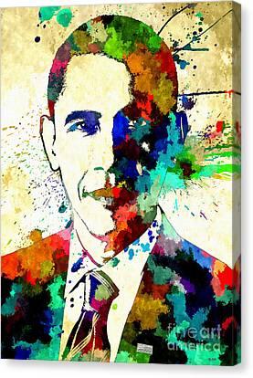 Barack Obama Grunge Canvas Print by Daniel Janda
