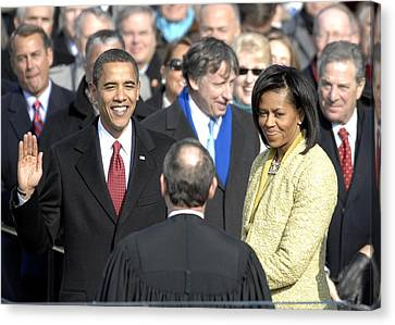Barack Obama Is Sworn In As The 44th Canvas Print by Everett