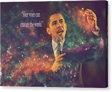 Barack Obama Quote Digital Artwork Canvas Print by Georgeta Blanaru