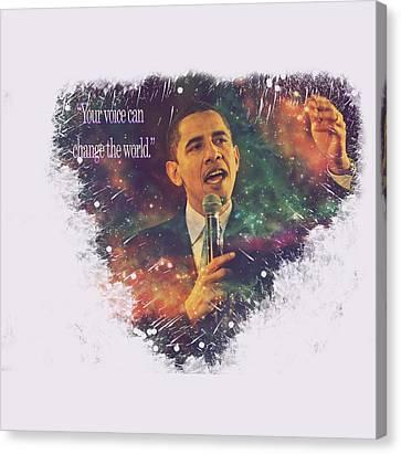 Barack Obama Quote Digital Cosmic Artwork Canvas Print by Georgeta Blanaru