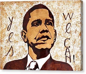 Barack Obama Words Of Wisdom Coffee Painting Canvas Print by Georgeta  Blanaru