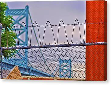 Barbed Wire Bridge Canvas Print by Bill Cannon