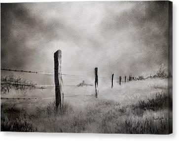 Barbed Wire Fence Canvas Print by Prateek Sabharwal