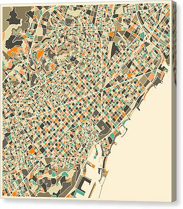 Barcelona Map Canvas Print by Jazzberry Blue