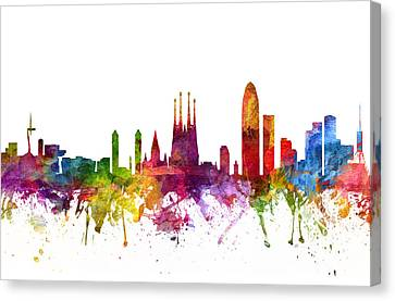 Barcelona Spain Cityscape 06 Canvas Print by Aged Pixel