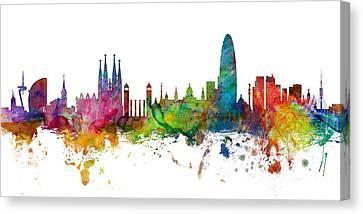 Barcelona Spain Skyline Panoramic Canvas Print by Michael Tompsett