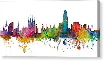 Barcelona Spain Skyline Panoramic Canvas Print by Michael Tompsett