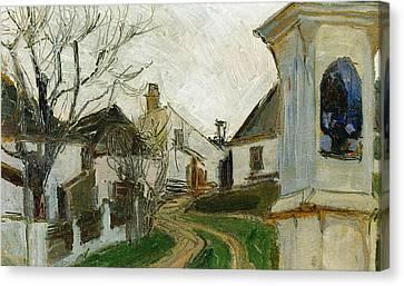 Bare Trees, Houses And Wayside Shrine Canvas Print by Egon Schiele