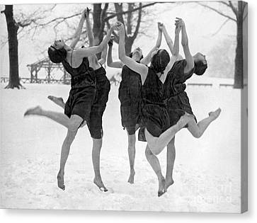 Barefoot Dance In The Snow Canvas Print by American School