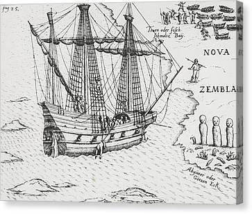 Barents' Ship At Nova Zembla Canvas Print by Dutch School