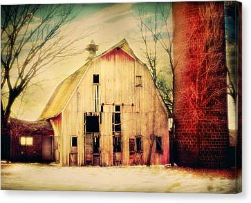 Barn And Silo Canvas Print by Julie Hamilton