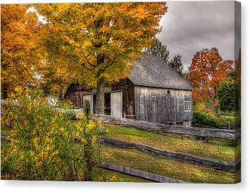 Barn In Autumn Canvas Print by Joann Vitali