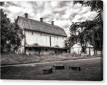 Barn In Black And White Canvas Print by Tom Mc Nemar