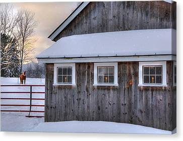 Barn In Snow - White Mountains, New Hampshire Canvas Print by Joann Vitali