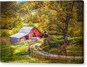 Barn In The Valley Canvas Print by Debra and Dave Vanderlaan