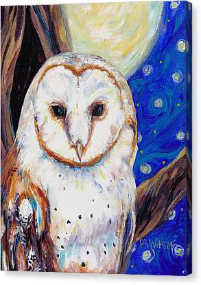 Barn Owl In Starry Night Canvas Print by Peggy Wilson