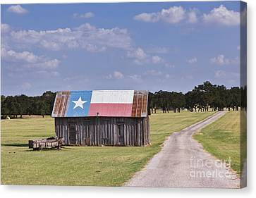Barn Painted As The Texas Flag Canvas Print by Jeremy Woodhouse