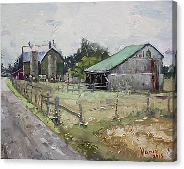 Barns And Old Shack In Norval Canvas Print by Ylli Haruni