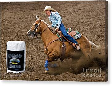 Barrel Racing Canvas Print by Louise Heusinkveld