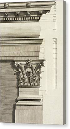 Base, Capital And Entablature Of The Pilaster Canvas Print by Giovanni Battista Borra