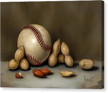 Baseball And Penuts Canvas Print by Clinton Hobart