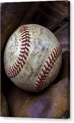 Baseball Close Up Canvas Print by Garry Gay