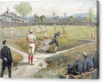 Baseball Game Canvas Print by Unknown