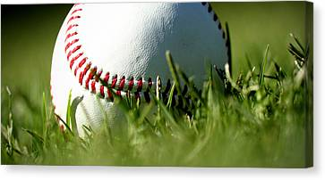 Baseball In Grass Canvas Print by Chris Brannen