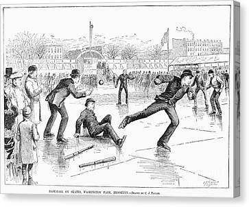 Baseball On Ice, 1884 Canvas Print by Granger