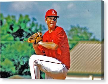 Baseball Pitcher Canvas Print by Marilyn Holkham