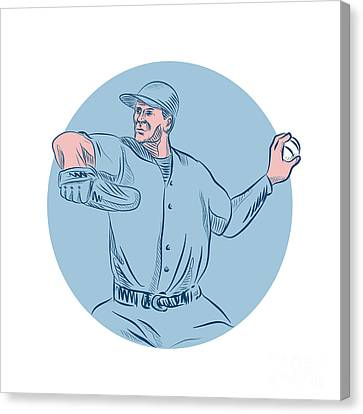 Baseball Pitcher Throwing Ball Circle Drawing Canvas Print by Aloysius Patrimonio