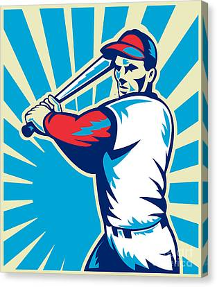 Baseball Player Batting Retro Canvas Print by Aloysius Patrimonio