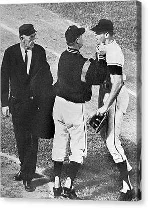 Baseball Player Ejected Canvas Print by Underwood Archives