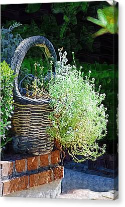 Basket Full Of Flowers Canvas Print by Donna Bentley
