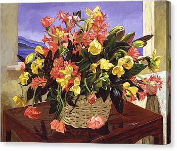 Basket Of Flowers Canvas Print by David Lloyd Glover