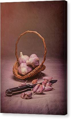 Basket Of Garlic Still Life Canvas Print by Tom Mc Nemar